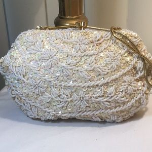 Handbags - Vintage hand beaded & sequin evening bag 1960s era